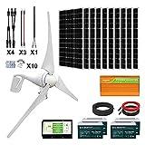 ECO-WORTHY 1400W Solar Wind Power Complete Kit: 1x 400W Wind Turbine+ 10x 100W Mono Solar Panel+ 1x 3500W 24V Inverter+ 4X 100Ah Gel Battery for Home/RV/Boat/Farm/Street Light and Off-Grid Appliances