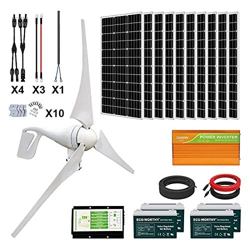 ECO-WORTHY 1400 Watts 24V Solar Wind Turbine Generator Kit: 1pc 400 Watt Wind Turbine + 10pcs 100W Mono Solar Panel + 1pc Solar Wind Hybrid Controller + 1pc 3500W 24V Inverter + 4pcs 100Ah Battery