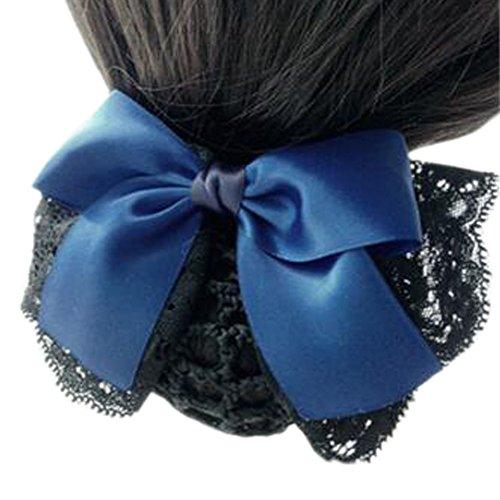 Maillot élastique à la mode pour dames Maillot de cheveux Hair Snood Bowtie Mesh, 3 Bleu