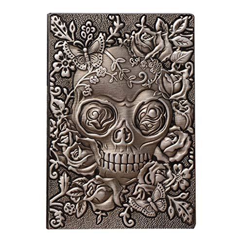 BINGBIAN Cuaderno creativo de piel con diseño de calavera...