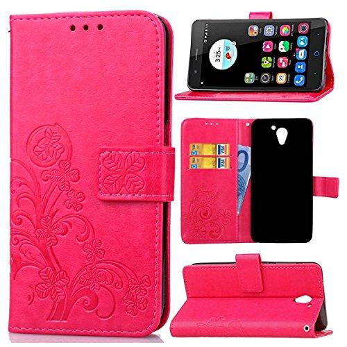 Guran Funda de Cuero PU para ZTE Blade A510 Smartphone Función de Soporte con Ranura para Tarjetas Flip Case Trébol de la suerte en Relieve Patrón Cover - Rosa roja