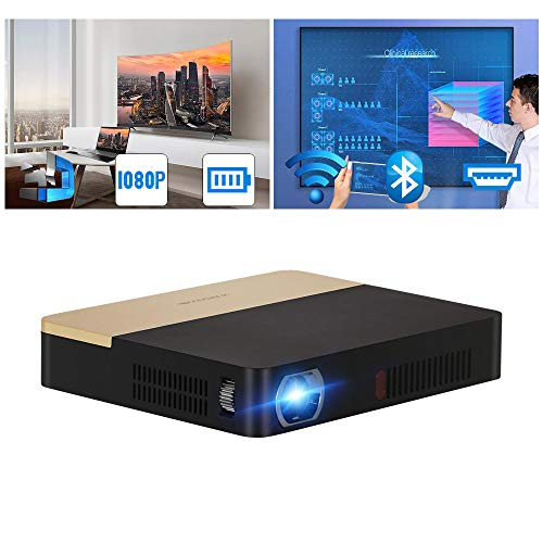 Mini Movies Projector 3D WiFi Bluetooth, WXGA Pico DLP Projector 4500lumen/12,000:1 Contrast/Smart Android OS/Built-in Battery Full HD 1080P Supported Home Cinema Proyector with HDMI USB Auto Keystone