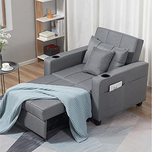 """DURASPACE 41"""" Sleeper Chair 3-in-1 Convertible Chair Bed Pull Out Sleeper Chair Beds Adjustable Single Armchair Sofa Bed with 2 Side Pockets and Cup Holders for Small Space (Light Gray)"""