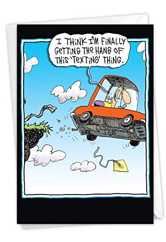 Texting - Hilarious Birthday Greeting Card with Envelope (4.63 x 6.75 Inch) - Text While Driving Cartoon, Comic Happy Bday Stationery - Funny Appreciation and Gratitude Card for Dad, Men 4327