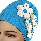 Látex Gorro de baño con flores - H01279, Azul