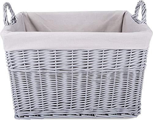 Xicaimen Almacenamiento en el hogar Cesta de Mimbre Rectangular Pintada de Gris Juguetes para la lavandería Caja de colección de guardería para bebés