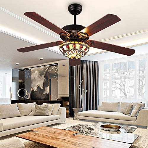 RainierLight Modern Ceiling Fans Led Light with 5 Wood Reversible Blades for Living Room/Bedroom/Dinning Room Remote Control 3 Speed Quiet Fan/Home Decoration