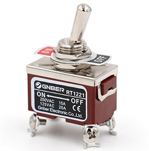 Heschen Interrupteur à bascule en métal DPST maintenu ON/OFF 2 positions 15 A 250 VAC CE
