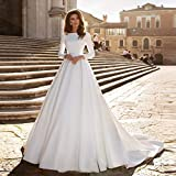 SWEETQT Bridal wedding dress A-line Wedding Dress Ivory Satin Wedding Gowns Elegant Long Sleeve Bride Dress Lace dress evening dress