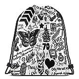 1D Tattoos Updated (2015) Drawstring Bag Sports Fitness Bag Travel Bag Gift Bag