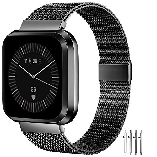 MioHHR Bands Compatible with Fitbit Versa/Fitbit Versa 2/Fitbit Versa Lite for Women Men, Breathable Stainless Steel Strap, Adjustable Replacement Wristband Accessories for Fitbit Versa -Black