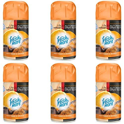 6x Fresh&More Nachfüller Anti Tabak Cedar&Orange Passend Für Freshmatic Max,250ml