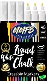 3mm Fine Tip Bright White Liquid Chalk Markers (6 Pens Size F) w/ 45 Chalkboard Labels, Wet Erase For Nonporous Blackboards Windows Glass, Reversible Bullet Chisel Tips Nibs