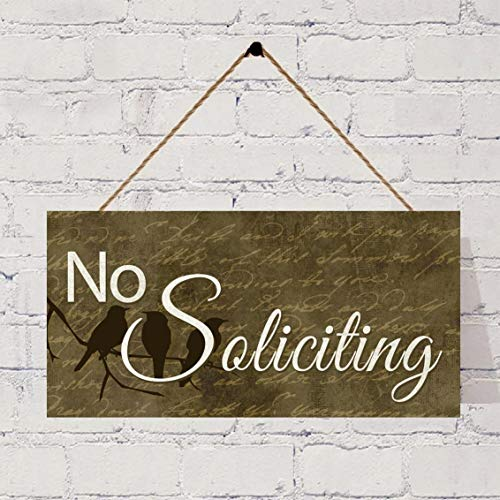 FQDIQI No Soliciting Sign, Birds On A Branch, Rustic Decor, Housewarming Gift, Front Door Sign, No Soliciting Hanging Plaque Vintage Wooden Sign.