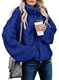 Dokotoo Women Winter Loose Solid Turtleneck Long Sleeve Cable Knit Chunky Sweaters Pullover Outerwear Blue S