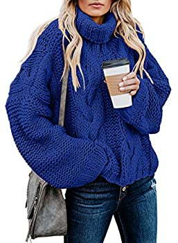 Dokotoo Women Winter Oversized Turtleneck Long Sleeve Cable Knit Chunky Sweaters Pullover Outerwear Blue L