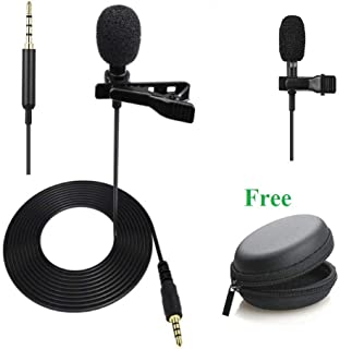 Alfa Mart 3.5mm Microphone Mini Singing and Recording mini Mic Lavalier Lapel Microphone and lapel mic with Long Cable for youtube mic Voice Chat, Video Conferencing & Recording and Carrying Pouch
