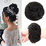 100% Human Hair Bun Extensions Messy Chignon Hair Pieces Scrunchy Scrunchie Updo Hairpiece Hair for Women Kids Donut Ponytail Hairpieces (Natural Black)