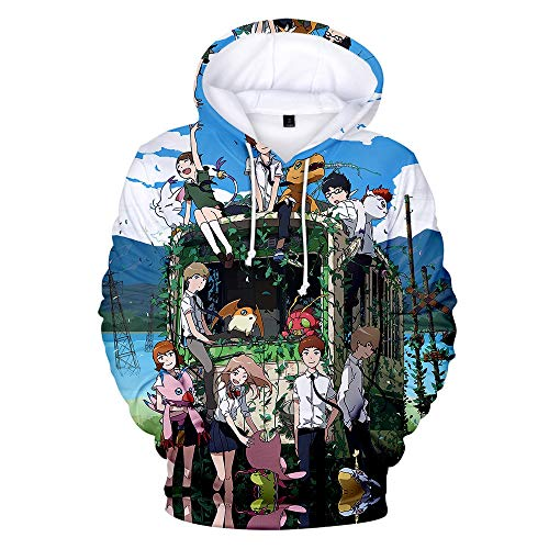 Anime Hoodie Digimon 3D-Druck Anime Hoodie Cosplay Tunnelzug Pullover (Color : 2J, Size : Small)