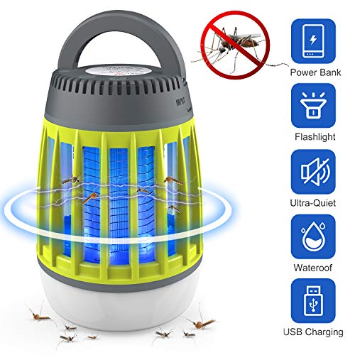 Dkinghome Lampe Anti Moustique UV Lanterne de Camping LED 3 en 1 Insecte Contrôle Répulsif Piège Portable Électrique Étanche USB Rechargeable pour Intérieur et Extérieur (Vert)