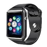 Reloj inteligente Bluetooth A1 para iPhone iOS, Android, Samsung, Sony, HTC y LG Smartphones + memoria y tarjeta SIM (negro)