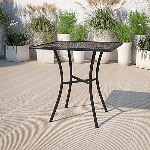 Flash Furniture Commercial Grade 28' Square Black Indoor-Outdoor Steel Patio Table