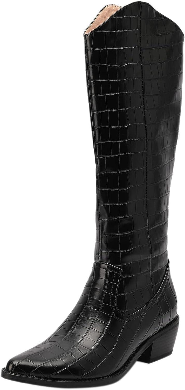 ZeniReuc Women Mid Heel Modern Western Cowboy Boot Block Heel Boots