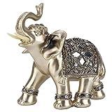 Estatuilla de Elefante Elegante de Resina Valor de colección de Estilo Antiguo Dorado Elegante, para Oficina para Puerta de Entrada(14 * 15cm Medium)