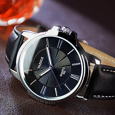 XKC-watches Herrenuhren, YAZOLE Herren Kleideruhr Quartz Armbanduhren für den Alltag Nachts Leuchtend Leder Band Schwarz Braun Schwarz Braun (Farbe : Braun)