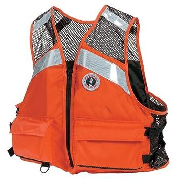 Mustang Survival - Industrial Mesh Vest with Solas Reflective Tape  Orange - XXXL  - USCG Approved Large Front Pockets mesh Shoulders Side adjustments