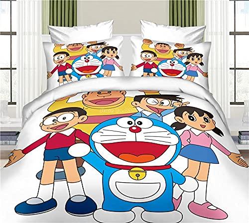 Funda Nordica Cama 90 - 135x200 cm Doraemon Juego de Ropa de Cama de Suave Transpirable Microfibra para Infantil con Funda Nórdica y 1 Funda de Almohada 50x75 cm