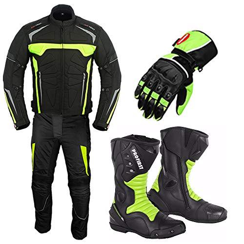 Traje de moto con guantes de carrera, botas de moto, zapatos de...