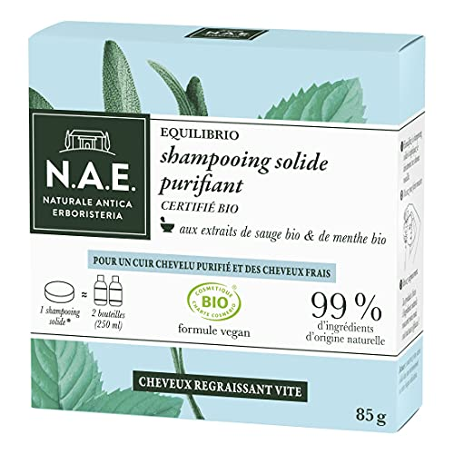 N.A.E. - Shampooing Solide Certifié Bio - Purifiant Cheveux Gras - Extraits de Sauge Bio...