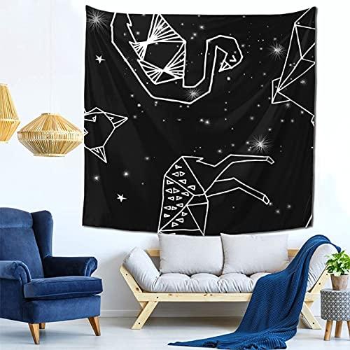 Gbyuhjbujhhjnuj Tapiz para colgar en la pared, diseño de triángulos geométricos y pájaros de origami, tamaño Queen para colgar en la casa, dormitorio, sala de estar, 149 x 149 cm
