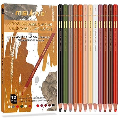 Professional Charcoal Pencils Drawing Set, 12 Pencils Colour Charcoal Pencils, Dark Skin Tone Colored Pencils for Sketching, Drawing, Shading, Coloring, Layering & Blending for for Beginners & Artists