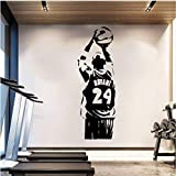 Papel tapiz extraíble NBA Kobe Etiqueta de la pared Baloncesto Cartel Vinilo Decoración de la habitación Deporte Hombre Calcomanías de pared Negro Mamba 42 * 124Cm