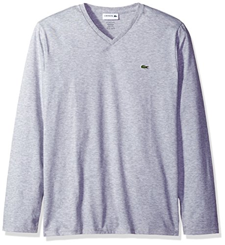 Lacoste Men's Long Sleeve Jersey Pima V-Neck T-Shirt, Silver Chine, XL