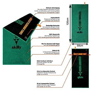 skilly FBT120 Serviette de fitness I Serviette de fitness 120 x 50 cm I Serviette de sport avec fonction antidérapante I Serviette en 100 % coton I Vert Noir XL (vert   noir, 120 x 50 cm)