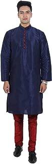 Men's Kurta Pajama Dupion Silk Indian Party Wear Traditional Dress Silk Ethnic Kurta Churidhar Set for Wedding (Navy-Maroon, L-44 Chest Size)
