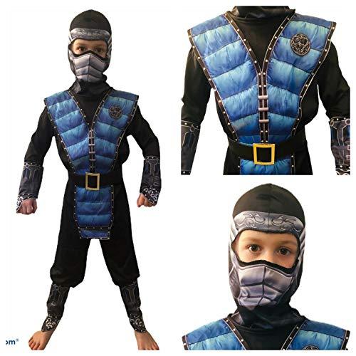 Rubber Johnnies Disfraz de NINJA de KOMBAT azul, estampado 3D, vestido de lujo, mortal, infantil, Halloween, 6-8 aos