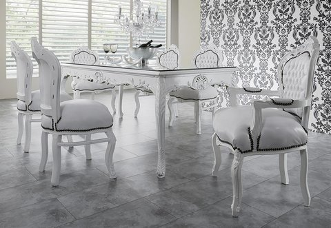 Casa Padrino Baroque Dining Room Set White/White - Dining Table + 6 Chairs