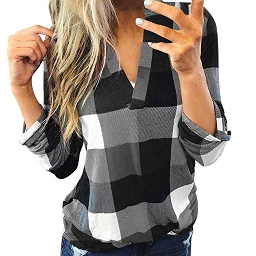 aihihe Women Long Sleeve Flannel Plaid Shirt Pullover Sexy V Neck Tops Casual Loose Boyfriend Tunic T Shirts Blouses Gray