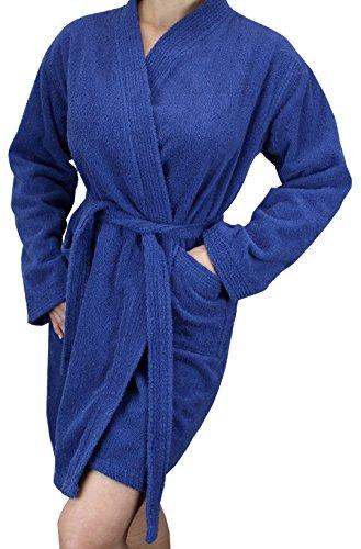 Damen Bademantel aus Baumwoll-Frottee, langärmelig, weich, kurze Länge - Blau -...