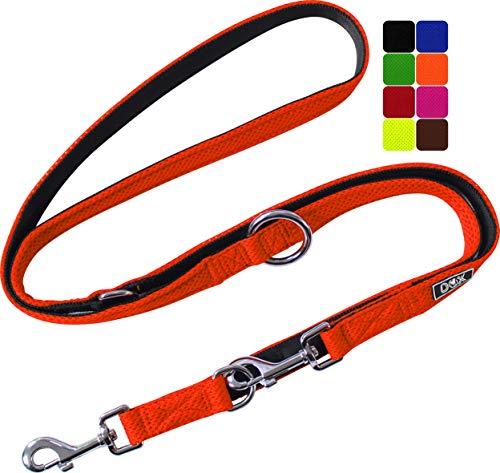 DDOXX Hundeleine Air Mesh, 3fach verstellbar, 2m | für kleine & große Hunde | Doppel-Leine Zwei Hund Katze Welpe | Schlepp-Leine groß | Führ-Leine klein | Lauf-Leine Welpen-Leine | Orange, S