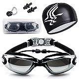 Gafas de Natación, Antiniebla Protección UV Sin Fugas Gafas Natación con Libre Clip de Nariz Enchufe de oído Gorro de baño para Hombres Mujeres Adultos Niños de la Juventud