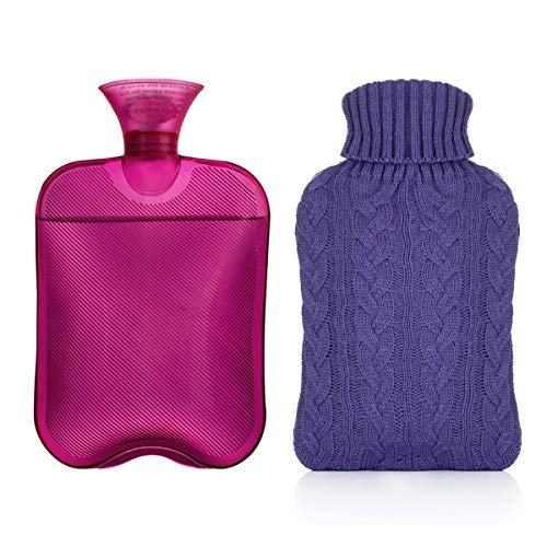 in budget affordable Samply hot water bottle – 2 liter water bag with knit lid, clear purple