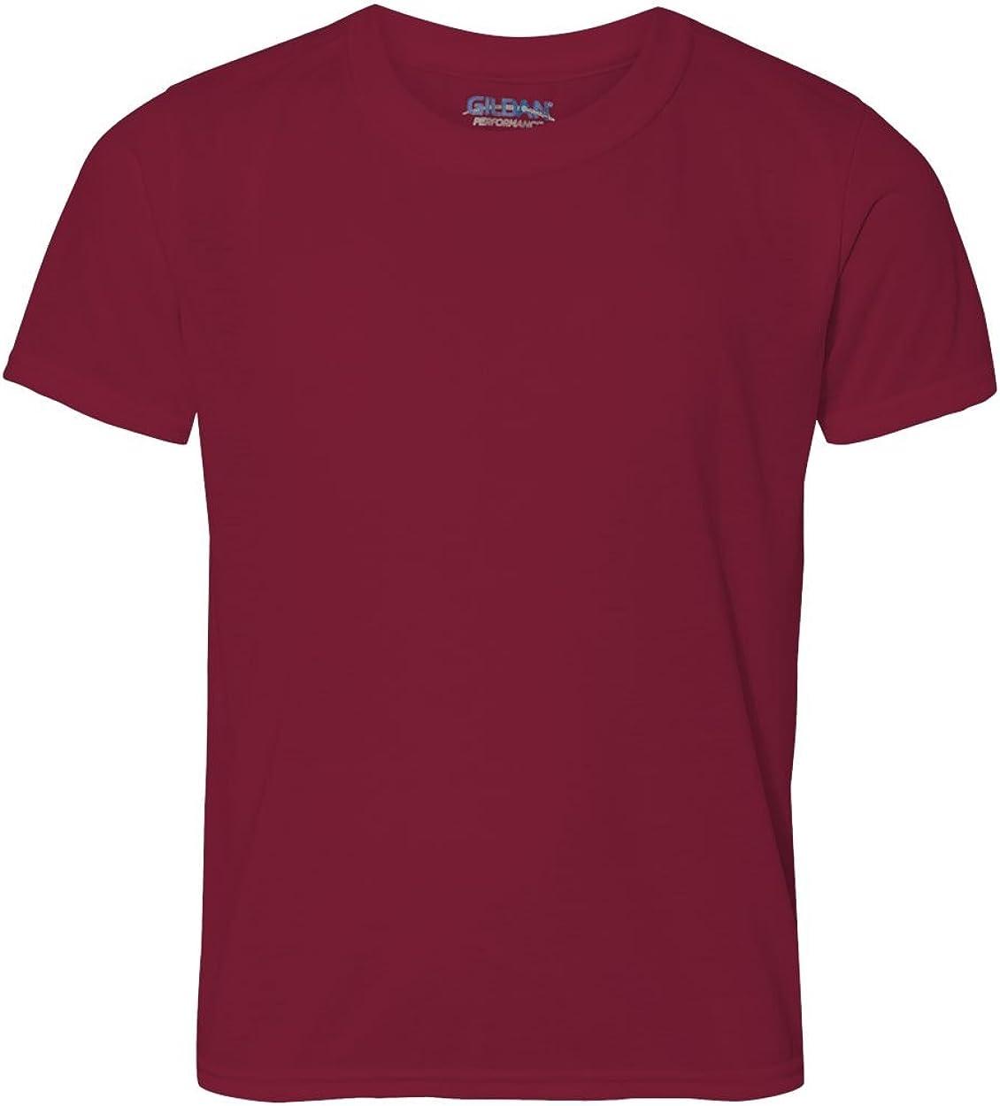 Fashion Gildan 42000B Youth Core Performance T Shirt Cardinal Red Large