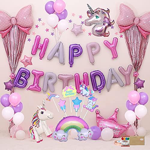 Unicornios para Niñas Cumpleaños Decoraciones De Fiesta De Cumpleaños Globos de Cumpleaños 3D Unicornio Globos Baby Shower Decoración Fiesta Cumpleaños Infantil Niña Niño