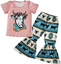 Baby Toddler Girl Cow Design Bell Bottoms Pants Clothing Set Boutique Girl Outfits 2021 New (5-6T) Pink