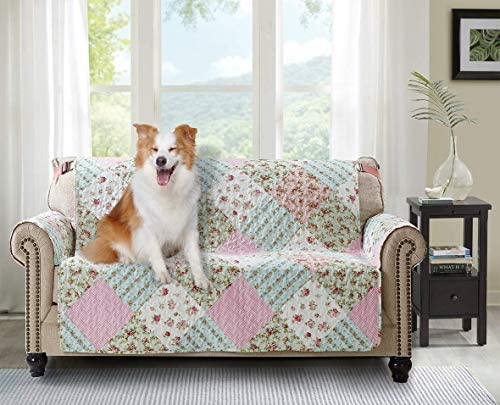 Best Brilliant Sunshine Pink and Green Rose Patchwork, Reversible Loveseat Protector for Seat Width up to